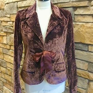Dark Cherry Embroided Velvet Jacket W/Satin Ribbon